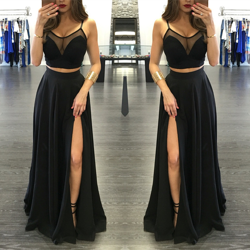 Sexy Two Pieces Illusion Black Prom Gowns Sleeveless Front Split