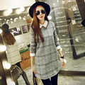 maternity clothes Pregnant women fall and winter clothes new long-sleeved plaid woolen cuffs pregnant women dresses women cloes