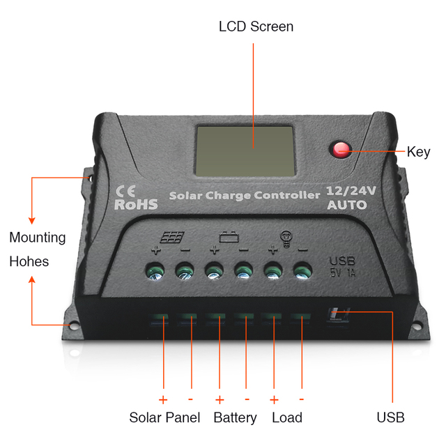EASUN POWER Solar Charge Controller 12V 24V Voltage Regulator 20A PWM Solar Charge Controller USB 5V Solar Regulator
