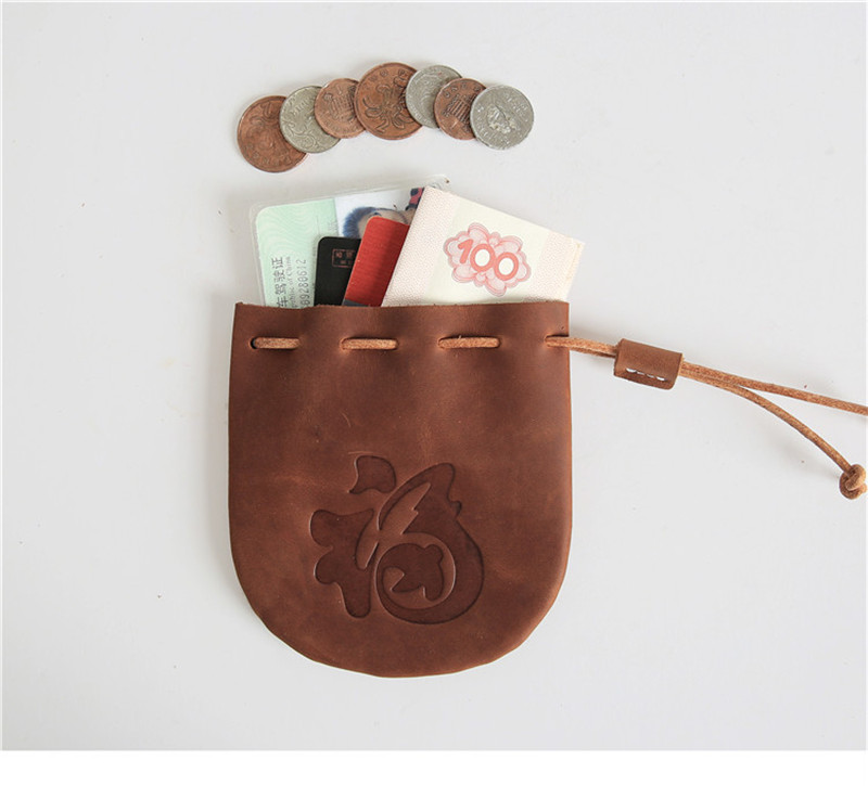 100% Genuine Leather Coin Bag Vintage Luck Draw String Wallet Bucket Lady Purse Organizer Cute Change Money Bags Pouch