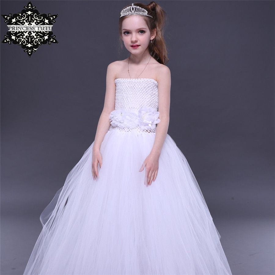 Princess Tutu Wedding Bridesmaid Flower Girl Dresses White Tutu Dress Clothes Ribbon Tulle Dress Birthday Party Kids Costume