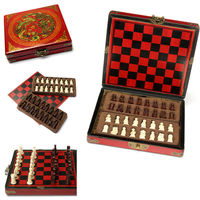 32pcs Sets Chinese Style Chess Wooden Folding Board Wood Queen History Gifts Oldable Fold Chess Set