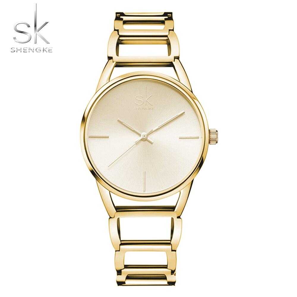 SK שמלת ילדה אופנה מקרית קוורץ נשים שעונים נירוסטה נשים שעון זהב גבירותיי שורש כף יד שעונים Relogio Feminino xfcs