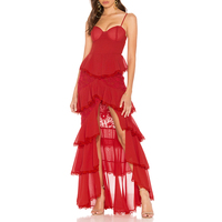 Newest Celebrity Party Bandage Long Dress Wome Lace Red Spaghetti Strap Sexy Split Night Out Club Maxi Dress Women Vestidos