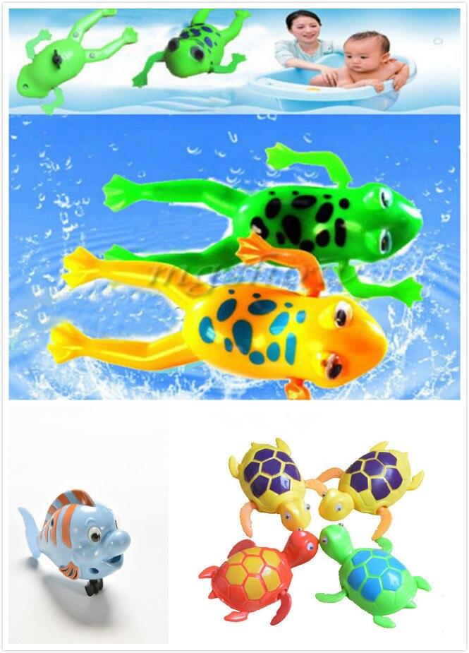 Children Frog Crocodile Turtle Fish Swimming Pool Bathtub Classic Clockwork Bathroom Beach Water Bath Toys