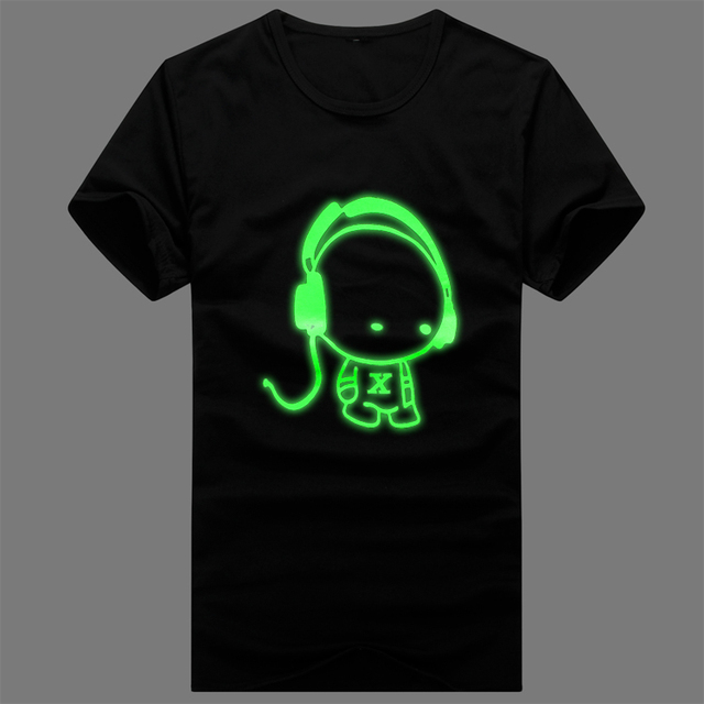 Summer men's clothing male short-sleeve T-shirt clothes luminous short-sleeve T-shirt personality male luminous neon t-shirt