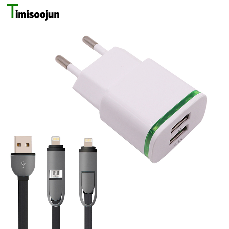 Timisoojun 2 Port USB Charger 5V/2A EU Plug Mobile Phone Charger Wall Adapter with Micro usb cable For iphone samsung huawei