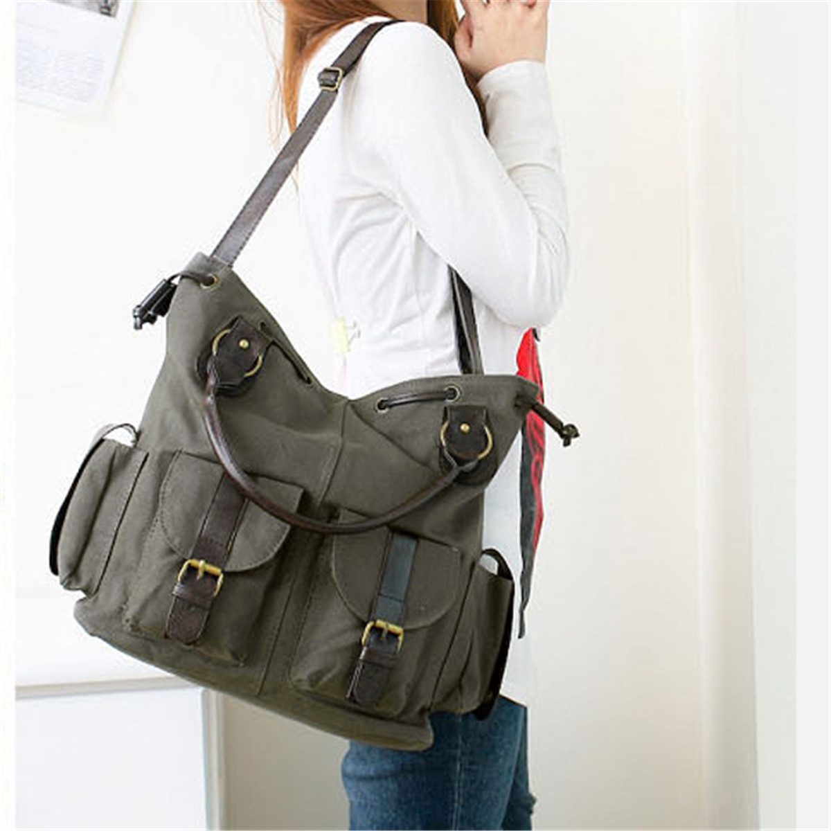 Women Canvas Handbag Large Capacity Top Handle Shoulder Bags Vintage Casual Crossbody Bag Ladies Totes Female Bolsas