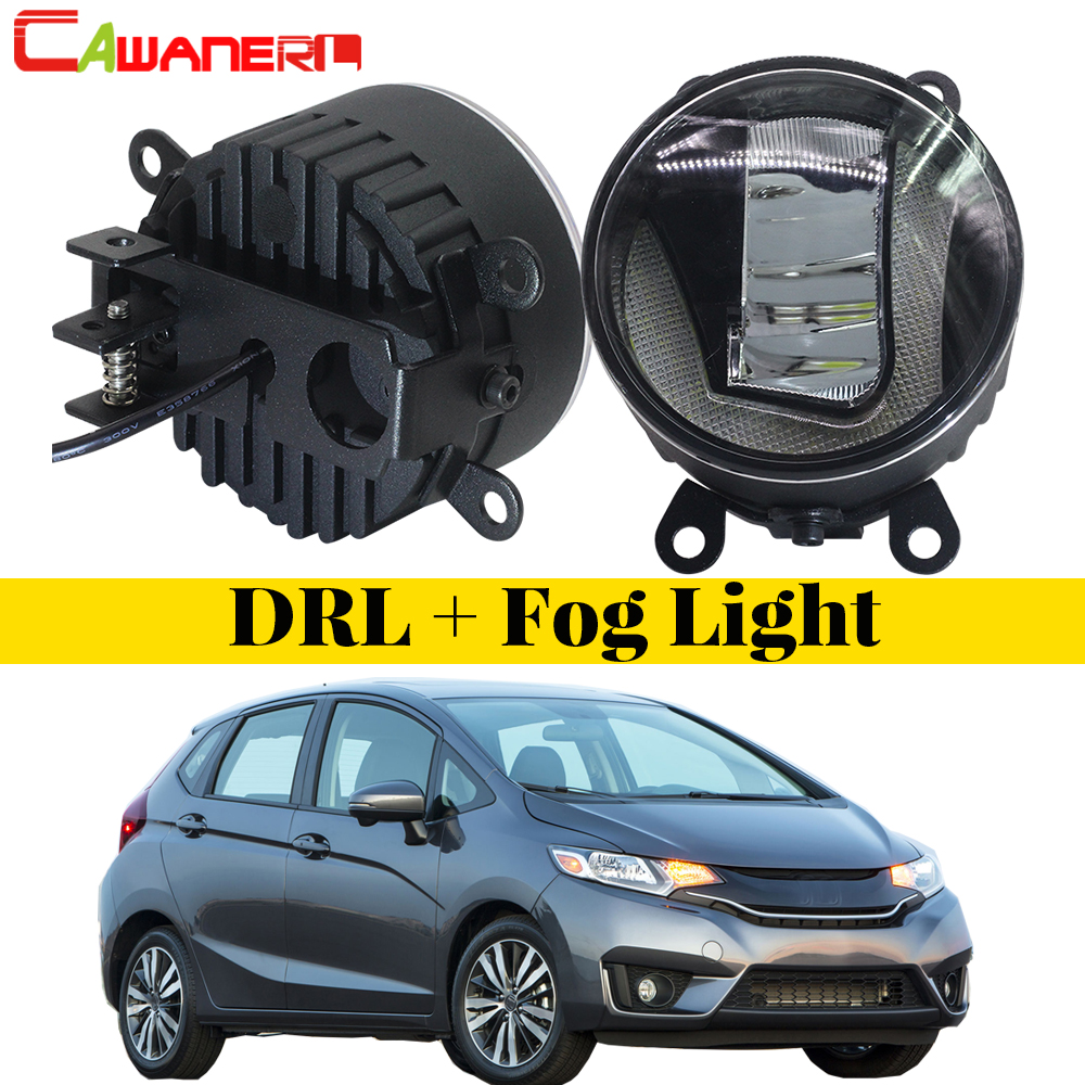 Cawanerl 2 Pieces Car Styling 2in1 LED Fog Light + Daytime Running Lamp DRL White 5000K 12V For Honda Fit 2015 Onwards cawanerl for toyota highlander 2008 2012 car styling left right fog light led drl daytime running lamp white 12v 2 pieces