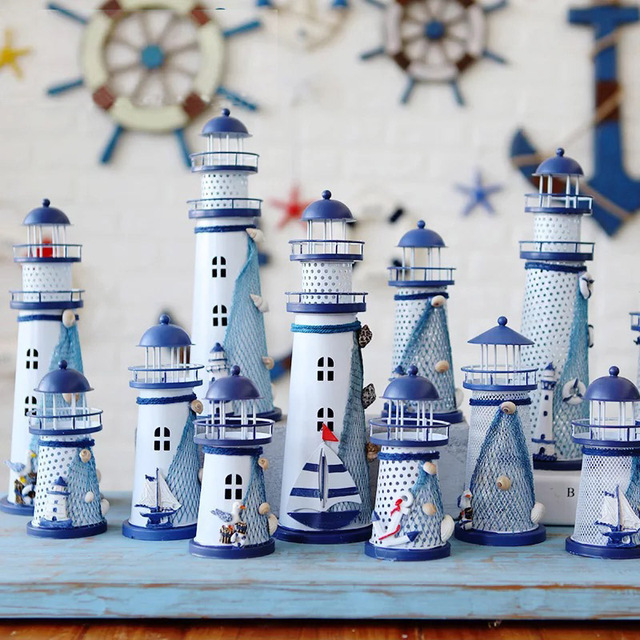 LED Iron Tower Candle Holder Mediterranean-style Lighthouse Wrought Holiday Candlestick Home with light Wedding Party Decor 1