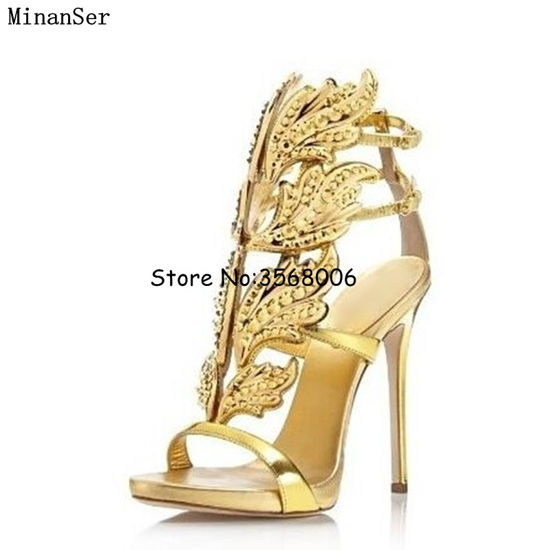 Crystal Angel Wings Sandals Gladiator Metallic Leaf Leather Shoes Stiletto Heels Pumps Buckles Wrap High Heels Rhinestone Shoes-in High Heels from Shoes    1