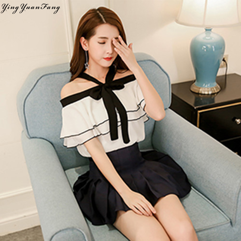 YingYuanFang The new fashion women's lace collar buckle leaves short-sleeved loose chiffon shirt