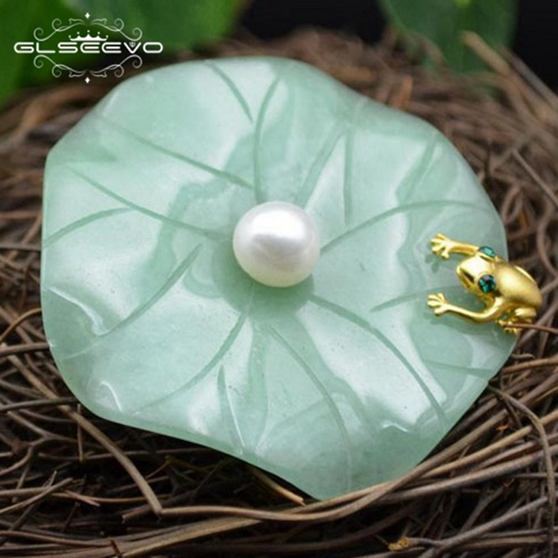 GLSEEVO Natural Fresh Water Pearl Aventurine Lotus Leaf Frog Brooches For Women Pendant Dual Use Fine