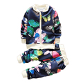 2017 Baby Girl Clothing Spring New Cotton Long Sleeve Zipper Printed Kids Set Jacket Autumn Tracksuit For Girls Children Clothes