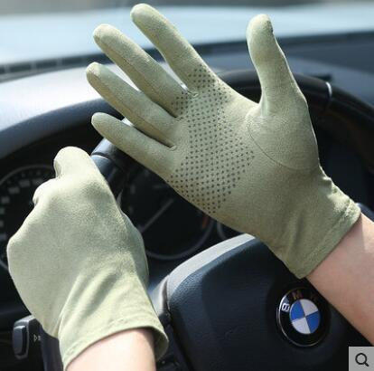 Spring And Summer Women's Faux Suede Leather Thin Sunscreen Driving Gloves Men's Summer Breathable Skid Resistance Gloves R220