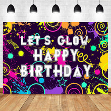 NeoBack Let's Glow Backdrop in The Dark Birthday Banner Photography Background Laser Neon Splatter Photo Booth Backdrops
