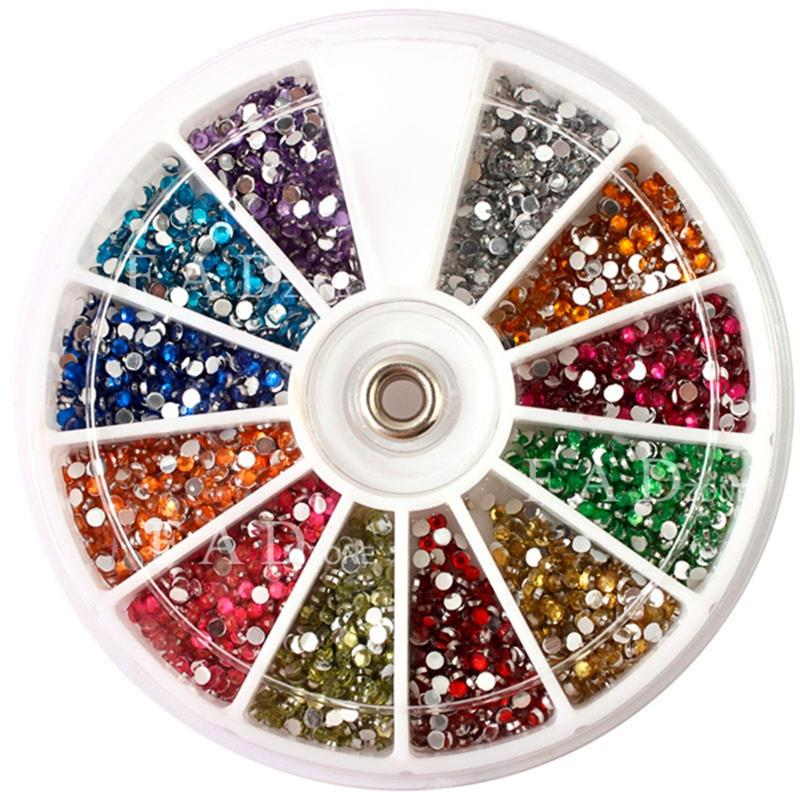 Top Nail 12 Color 2mm Glitter Acrylic Drill Wheel Nails Manicure Tips Tools For Charms 3D Nail Art Decorations ZP047 24pcs lot 3d nail stickers decal beauty summer styles design nail art charms manicure bronzing vintage decals decorations tools