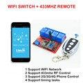 2017 Новый 4-КАНАЛЬНЫЙ 5 В DC Вход WI-FI Smart Switch, РФ 433 мГц Беспроводной Пульт Дистанционного Управления РФ контролируется по Телефону APP