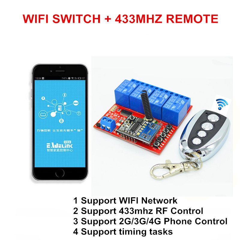 2017 New 4CH 5V DC Input WIFI Smart Timer Switch, RF 433mhz Wireless Remote Control Switches RF Controlled by Phone APP dc 5v esp8266 wifi relay module things smart home remote control switch phone app esp 01 wireless wifi module