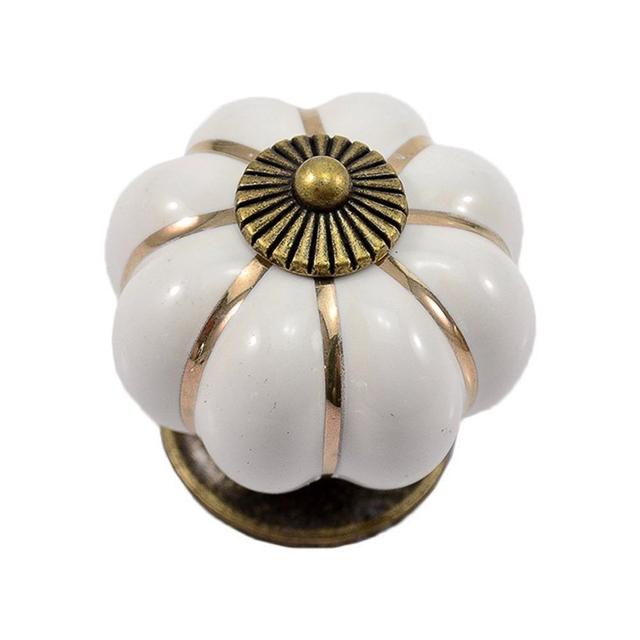 KSOL 12 Pcs Abóbora Zinco Maçanetas de Cerâmica Armário Roupeiro Puxador de Gaveta Punho Do Armário de Cozinha Branco