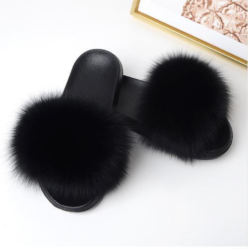 2018 Women's Furry Slippers Ladies Cute Plush Fox Hair Fluffy Slippers Women's Fur Slippers Winter Warm Slippers for Women Hot