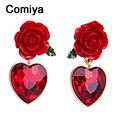 Comiya heart shape red crystal rose flower resin drop earrings for women green leaf glaze enamel process dangle earring 2017