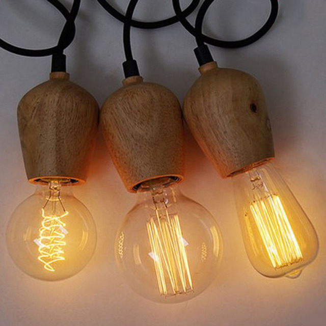 ST64 G80 220V Bulbs Lamp Log Lamp Single Pendant Light Personalized Wooden  Lamps Brief Vintage American