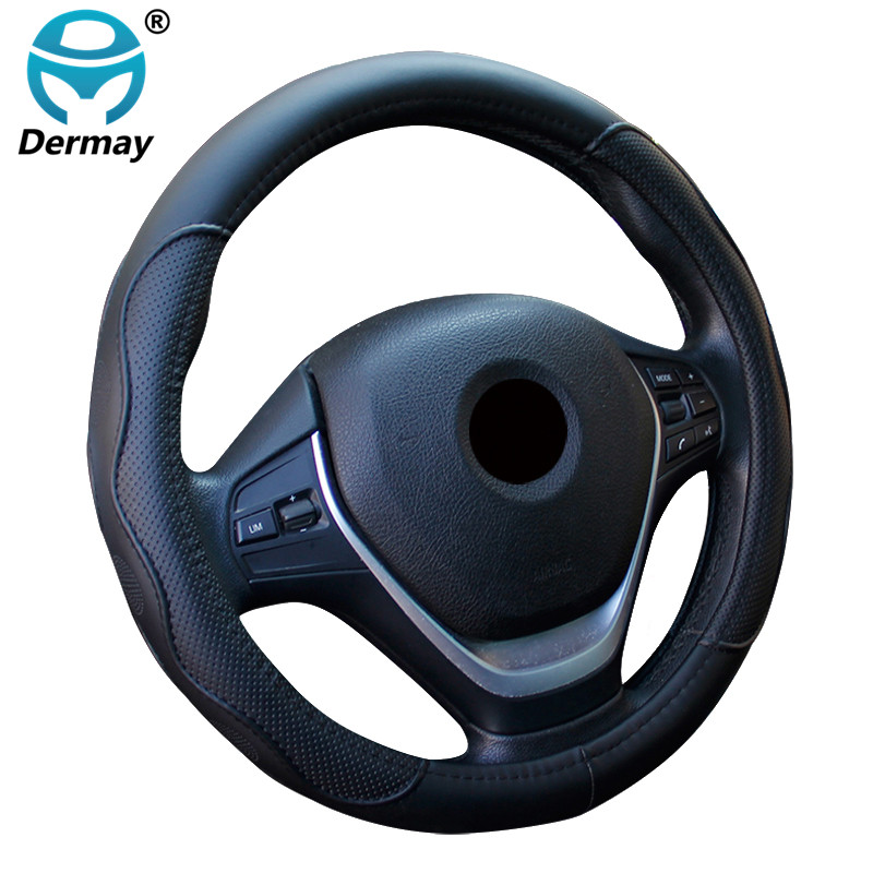 DERMAY Auto Car Steering-wheel Cover High Steering Cover 5Colors Anti-slip For 38CM/15 Steering Wheel Car Styling Free Shipping free shipping car styling sew on genuine leather car steering wheel cover car accessories for 2015 2016 new ford mustang