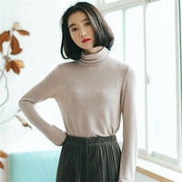 HziriP Women Sweater 2017 Winter High Collar Pullovers Casual Sweaters Sweet V Neck Long Sleeve Solid