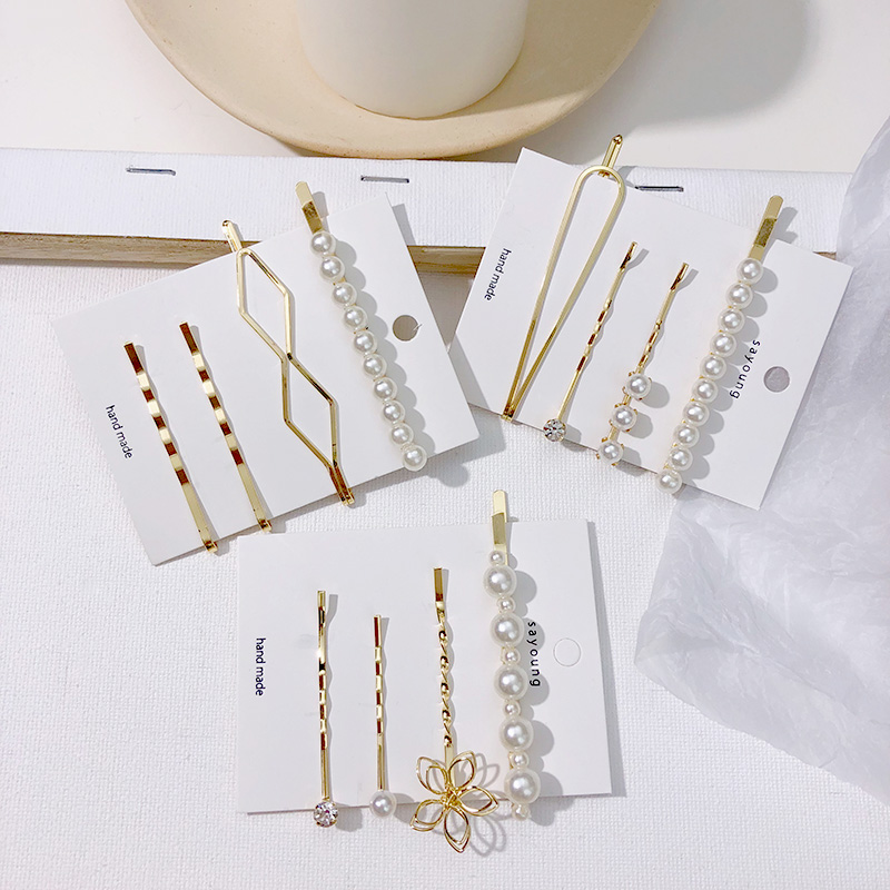 Wedding Women Hair Accessories Fashion Simulated Pearl Hair Clip Bobby Pins Jewelry Gold Stick Snap Barrettes Styling For Girls