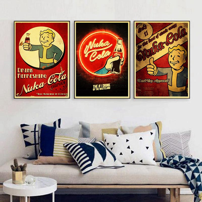 Fallout 234 Nuka Cola Vintage Paper Poster Wall Painting Home Decoration 42X30 CM 30X21 CM