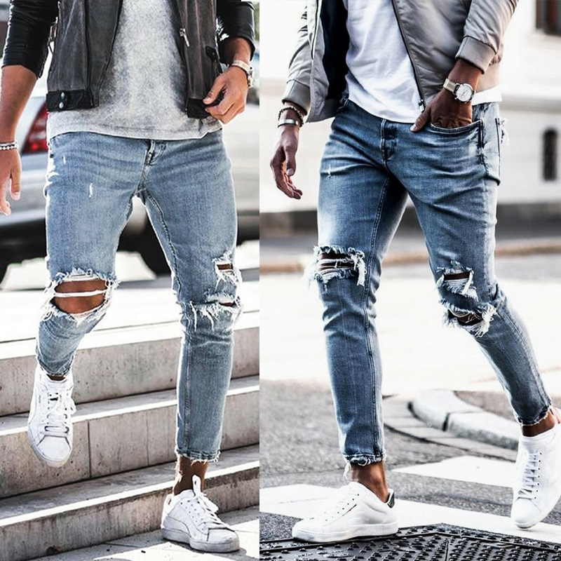 d85fb10397b Casual para hombre Pantalones vaqueros Slim vaqueros Biker Denim rodilla  agujeros Hiphop arrancó los pantalones de alta calidad