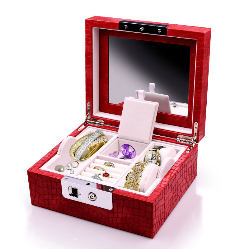 Luxury Women Fashion Mirror Storage Box With Fingerprints Unlock Double-layer Red Jewelry Necklace Watch Box Fingerprint Lock
