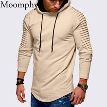 Moomphya Hooded streetwear Hoodies Pullover Pleated striped sleeve hip hop men hoodie sweatshirt Slim men coat(China)