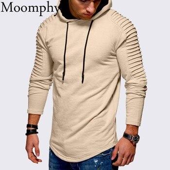Moomphya z kapturem streetwear bluzy z kapturem swetry plisowane w paski z długim rękawem hip hop mężczyźni bluza z kapturem bluza z kapturem Slim mężczyźni płaszcz