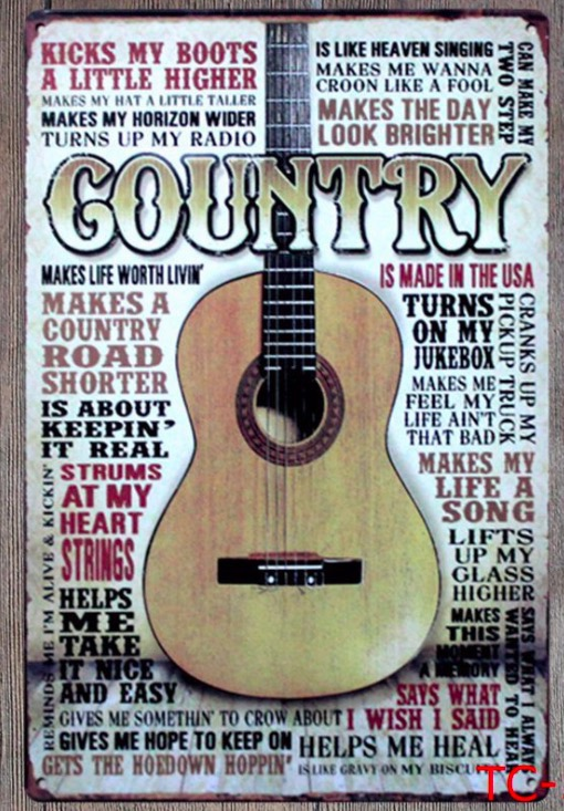 1pc Music Guitar Country Songs plaques Tin Plate Sign wall man cave Decoration Poster metal vintage retro shabby decor shop image