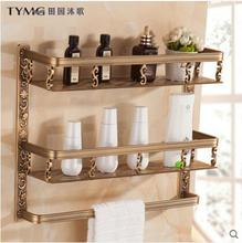 European style antique bathroom rack towel rack vintage storage rack with a double carved wooden basket with towel bar full copper simple bathroom lengthened antique black towel with double pole towel bar 9019k