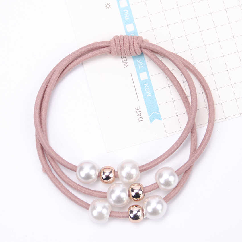 5PCS New Women Hair Accessories Girl Headband Three Layer Rubber Band Imitation Pearls Ball Star Elastic Hair Bands Girl Jewelry