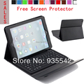 Wireless Bluetooth Silicone QWERTY Keyboard  PU Leather Cover Stand Case for Apple iPad AIR for iPad 5 9.7 inch Tablet ( Black )