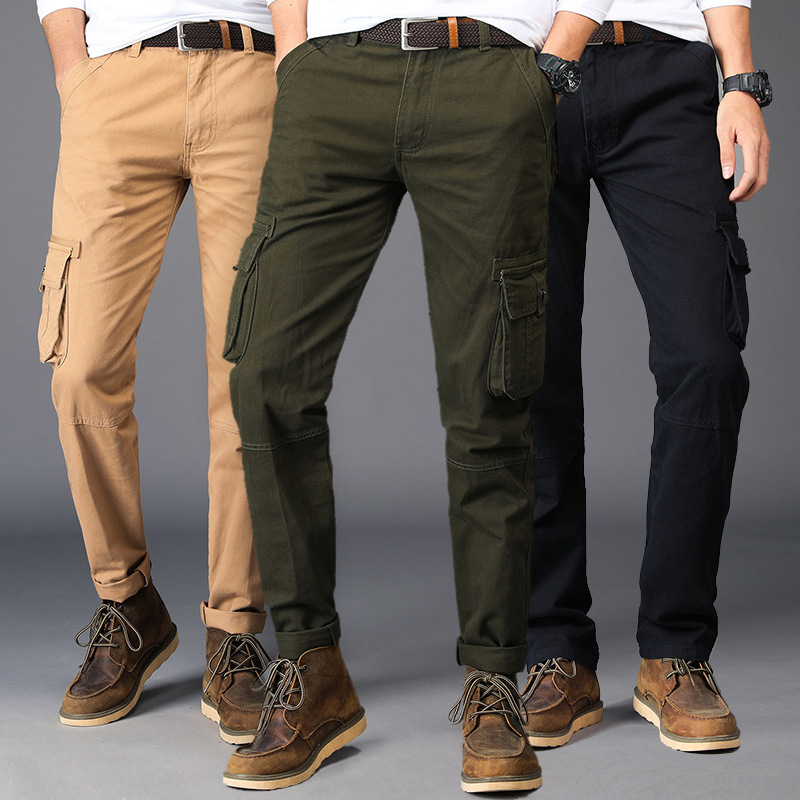Mens wear 2018 new mens casual trousers sports camouflage work suits multi-pocket trousers fall mens trousers