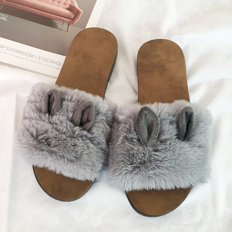 Rabbit 39 s Ear Home Shoes Casual Flat heels Easy to wear fur slippers in Slippers from Shoes