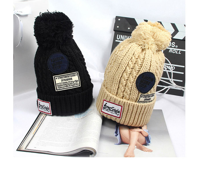2016 Fashion Autumn Winter Female Hats Hot Selling The Knitting Ball Wool thicken Cap Hat Casual Cap For Women wholesale price 2017 new fashion autumn and winter wool leaves hollow out knitting hat thick female cap hats for girls women s hats female cap