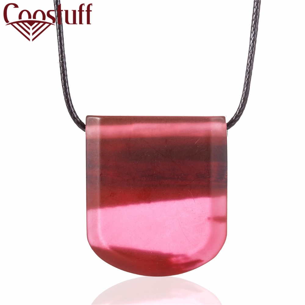 Wood Resin Statement Necklace Handmade Trapezoidal Pendant  Leather Necklaces