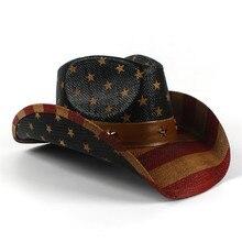 USA Amerika Bendera Jerami Pantai Matahari Topi Untuk Pria Wanita Musim  Panas Barat Menggulung Koboi Topi Matahari 7b2330ef8d