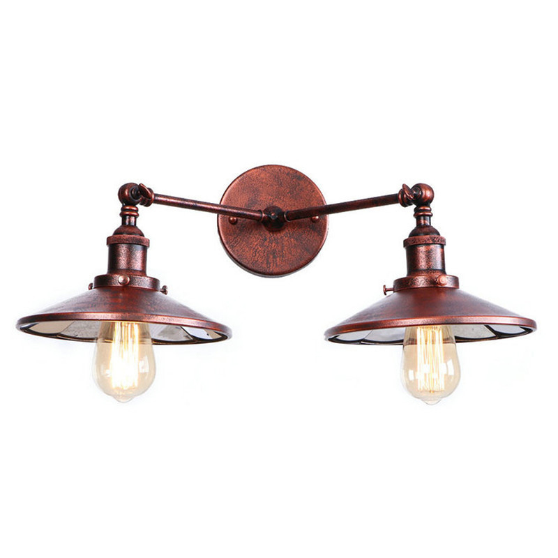 Rust American Vintage Wall Lamp LED Beside 2 Heads Adjustable Arm Industrial Edison Wall ...