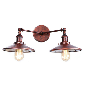 Rust American Vintage Wall Lamp LED Beside 2 Heads Adjustable Arm Industrial Edison Wall Sconce Lights Aplique Pared