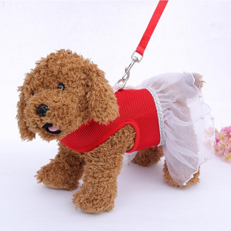 Fashion Breathable <font><b>Dress</b></font> Skirt <font><b>Dogs</b></font> Princess <font><b>Dresses</b></font> Pet Bow-knot Yarn Skirt Clothing Supplies Pet <font><b>Harness</b></font> Traction Chest Strap image
