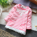 Free shipping Retail new 2013 spring autumn t shirts baby clothing girls long sleeve t-shirts for children striped lace t shirt