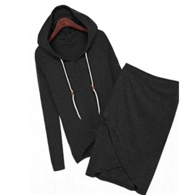 Long Sleeve Hooded Elastic Knee-Length Set (Hoodie + Skirt)