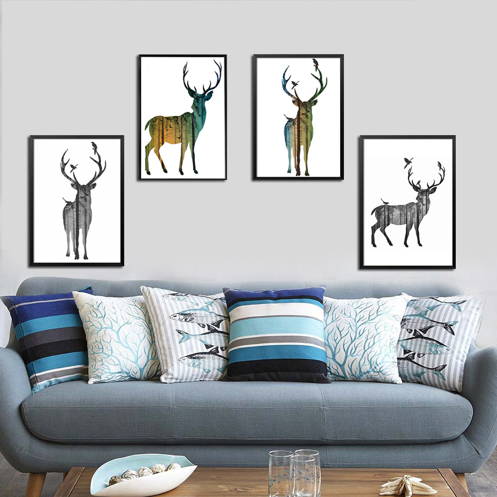 Cartoon Living Room: 6 Style Forest Deer Family Cartoon A4 Child Room Art Print